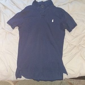 Custom fit stretch men's Polo navy polo shirt